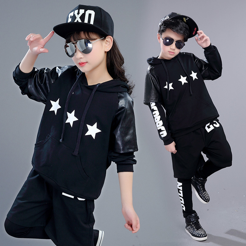 Korean Children New 2017 Boys Autumn Long Sleeved and short sleeve Black Suit Large Children Hooded Two Piece/sets Sports Set