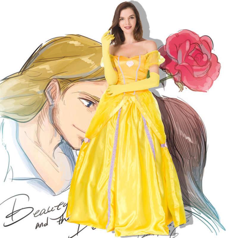 Fantasias amarillas, vestido de bella y bestia de princesa, disfraces de disfraces para adultos, fiesta de Navidad, Halloween, disfraz de Bella bestia
