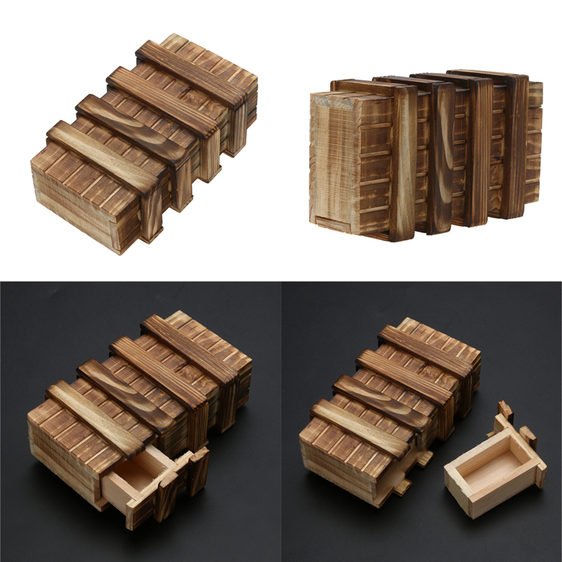 Magic Compartment Wooden Puzzle Box With Secret Drawer Brain Teaser Educational font b Toy b font