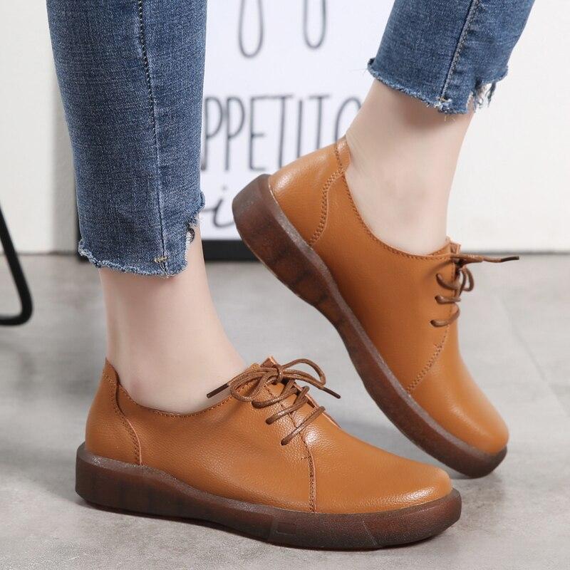 Moda Chica Las Black Casual Marrón Oficina Calle Partido Cuero Zapatos Sólido Oxfords Lace brown De Mujeres Negro Señoras Up zTPB6wq