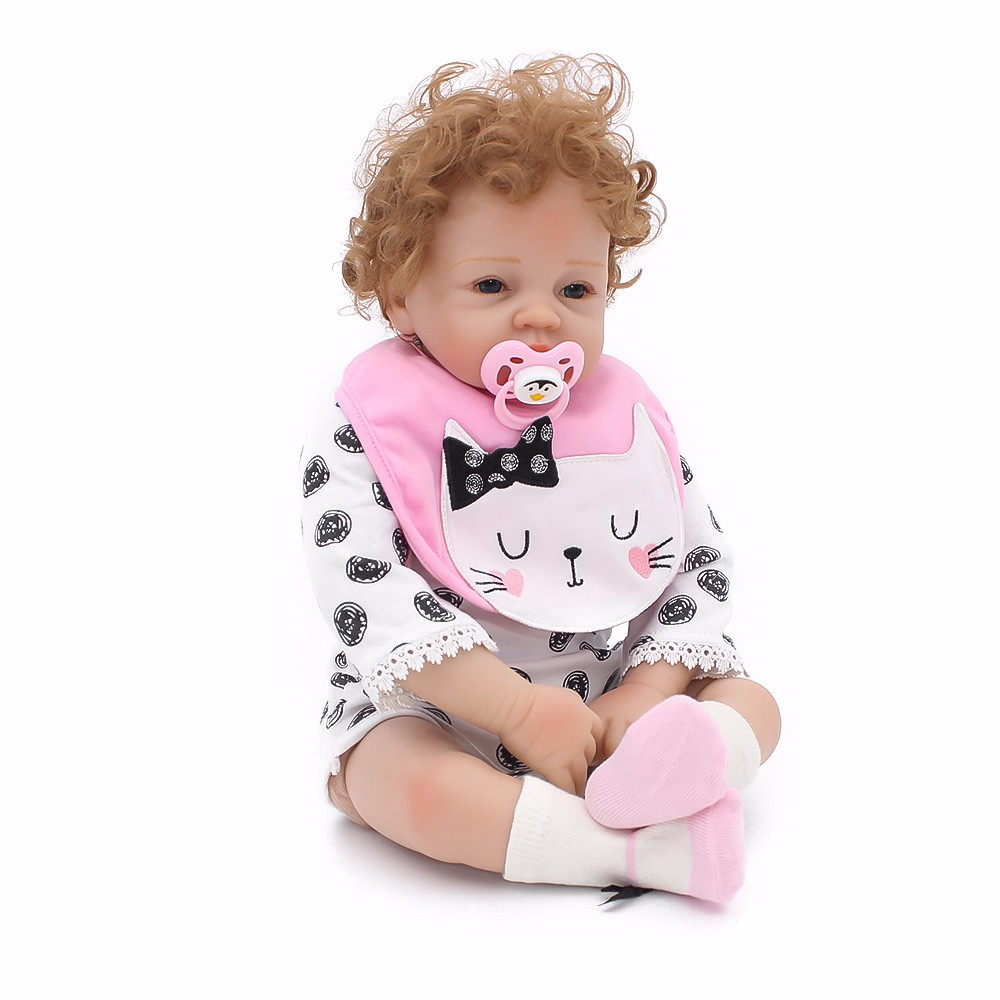 53cm Newborn Doll Soft Silicone Reborn Baby Dolls Vinyl Toys Dolls For Girls Curly Hair Baby Dolls Kids Mom Playmates 53cm Newborn Doll Soft Silicone Reborn Baby Dolls Vinyl Toys Dolls For Girls Curly Hair Baby Dolls Kids Mom Playmates