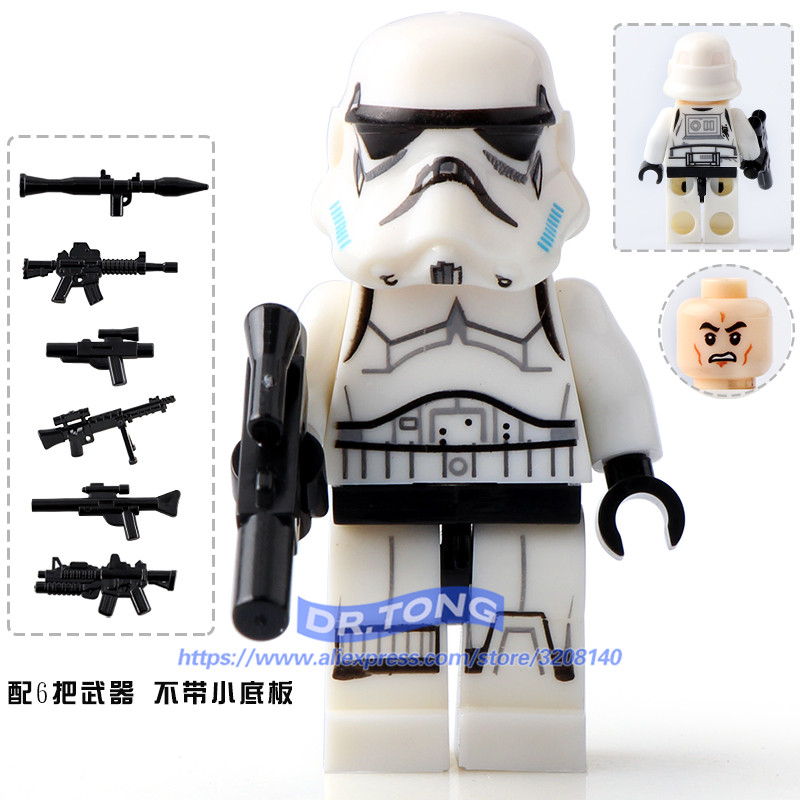 DR.TONG Single Sale Star Wars Clone STORM Trooper Clone Soldiers with Weapon Building Block Mini Kids Toys Children Gifts