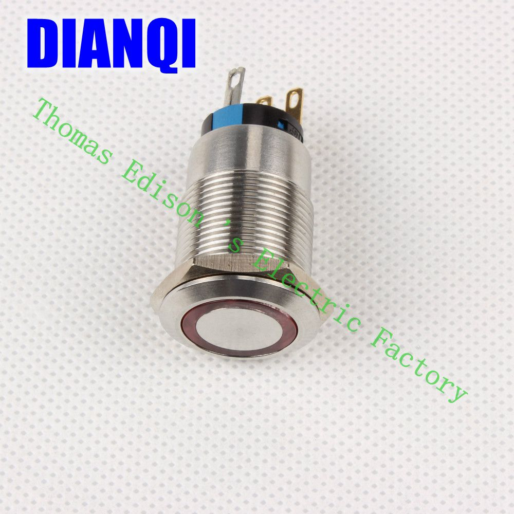 ФОТО High Quality J19-272 19MM Stylish Car Boat Metal LED Power Push Button Switch Press-Button Fastener Pushbutton Switch