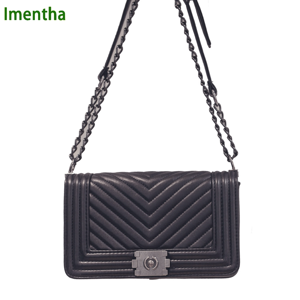 big V texture handbag quilted chain bag black Women Bags pochette sac femme  Women Shoulder Bags sac a main femme crossbody bags f3cf18f0944