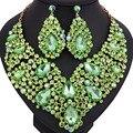 Роскошные свадебные ювелирные изделия Полный Кристалл Rhinestone Себе Ожерелье и длинные серьги Ослепительная Свадебные наборы ювелирных изделий партии
