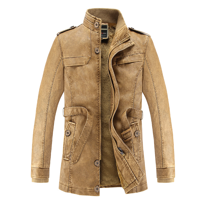 Men Leather Jacket WinterFax Fur Liner Slim Fit Jaqueta De Couro Masculino PU Leather Jacket Bomber Chaqueta Motercycle Jacket ...