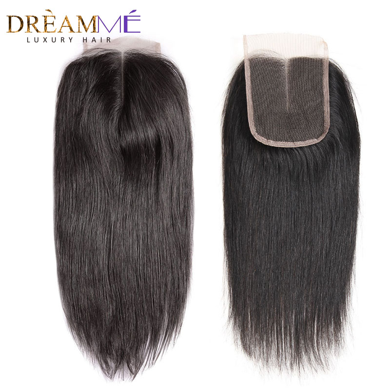 Dreamme Brazilian Straight Hair Lace Closure Free Middle Three Part Remy Human Hair 4x4 inch Swiss