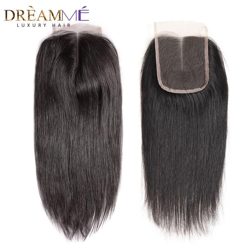 Dreamme 브라질 스트레이트 헤어 레이스 클로저 무료 / 중간 / 세 부분 레미 인간의 머리카락 4x4 인치 스위스 브라운 레이스 폐쇄