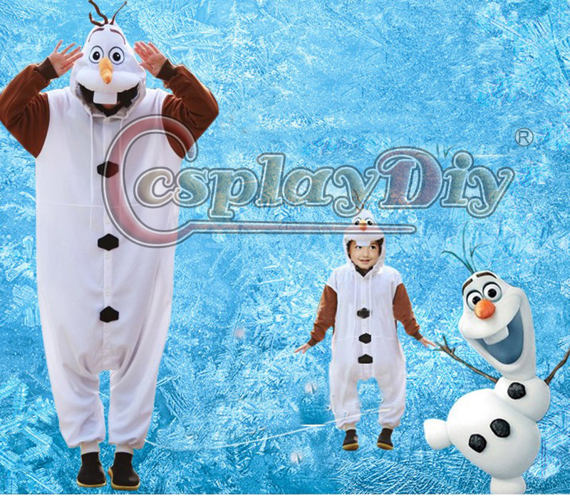 Cosplaydiy Unisex Adult Kids Snow Queen Olaf Costume Onesies Pajamas Jumpsuit Hoodies Cosplay Costume Olaf Snowman Clothing