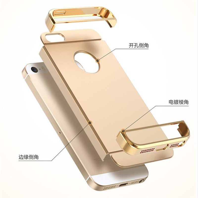 Luxury Royal Gold Metal Plating Hard Case For iPhone 5 cover iphone 5s Back Cover For iphone SE Capa Coque Funda Case in Fitted Cases from Cellphones Telecommunications