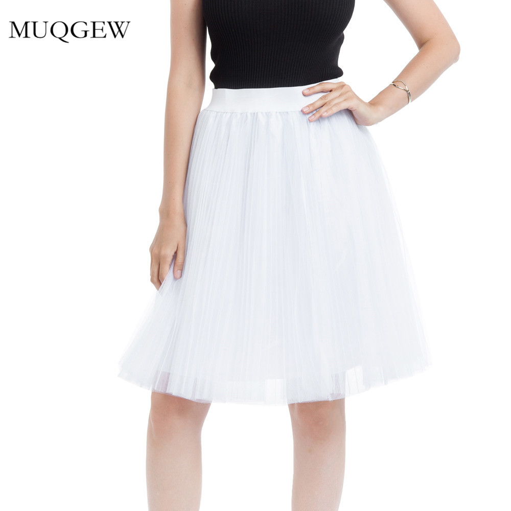 Women 4 layers mesh tulle skirt pleated princess skirt high waist tutu tulle ball gown mesh bubble skirt
