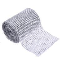 24 Rolls Wedding Decoration 5 Yard Silver Diamond Mesh Wrap Roll Sparkle Rhinestone Ribbon For Home