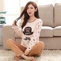 New Cute Cartoon Pajama Sets For Women Long Sleeve Pijama Pajamas Pyjama femme Sleepwear Girls Nightwear Womens Clothing PJ1