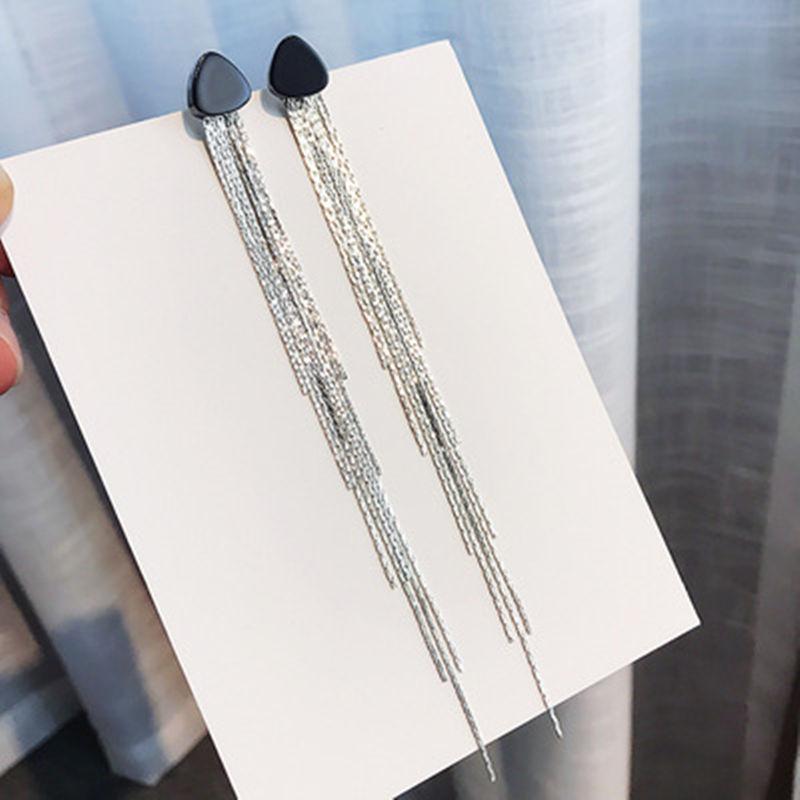 LUBOV Luxury Gold Silver Color Metal Long Chain Tassel Drop Earrings Punk Style Women Dangle Earrings Party Jewelry Girls' Gift