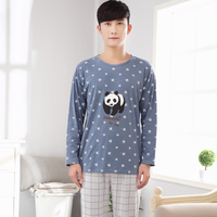 2016 Spring And Autumn Men Pajama Sets 100 Cotton Male Sleepwear Long Sleeve O Neck Pullover