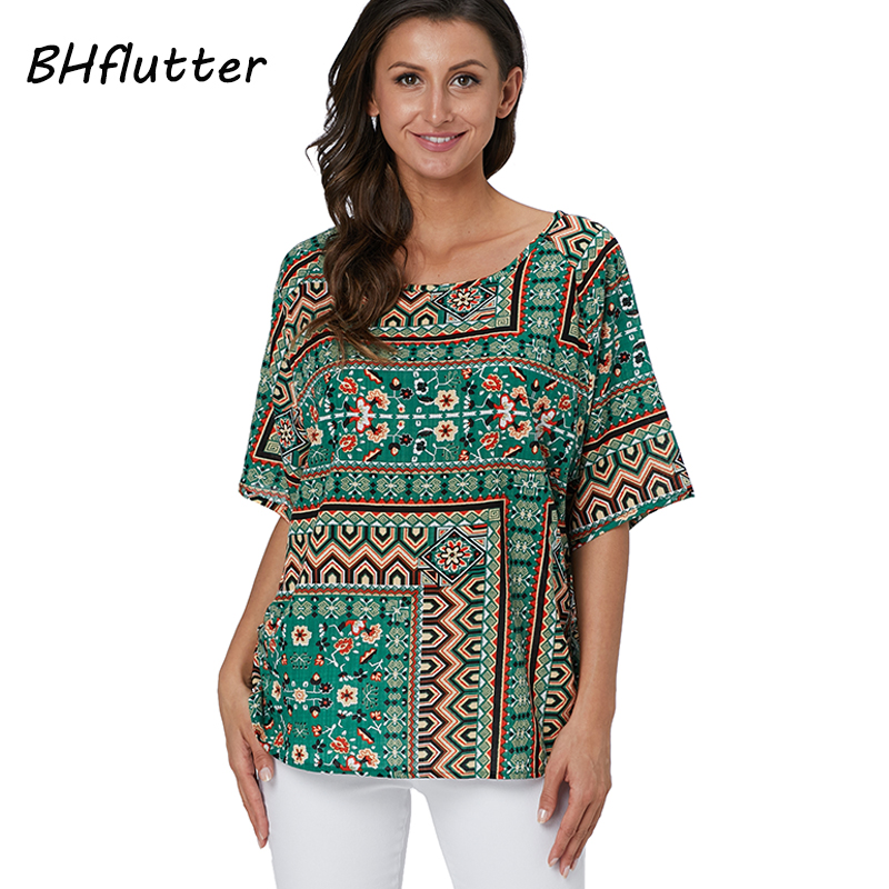 eeffdea7086 BHflutter Womens Tops and Blouses Plus Size 2019 New Arrival Short Sleeve  Summer Blouse Floral Print Casual 100% Cotton Shirts - Kuko Fashion Store