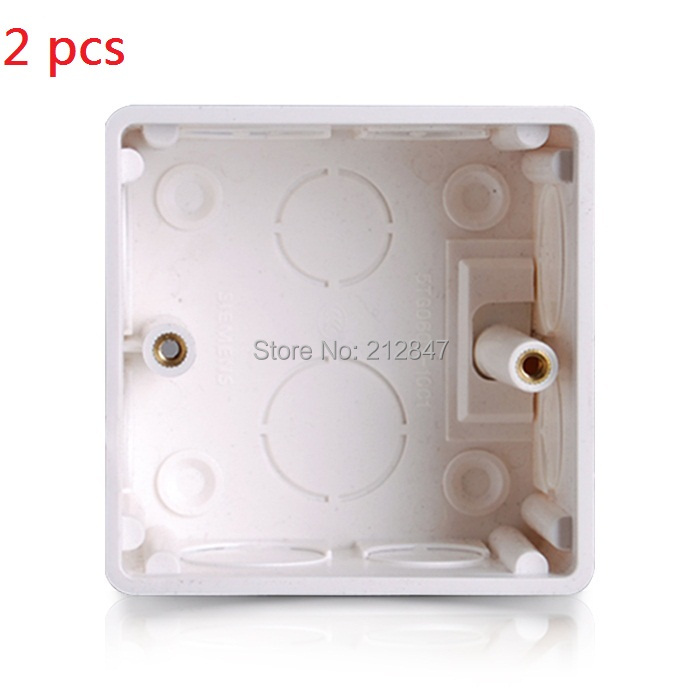 2 Pcs 86x86x38mm White PVC Flush Type Wall Mounted Single Gang ...
