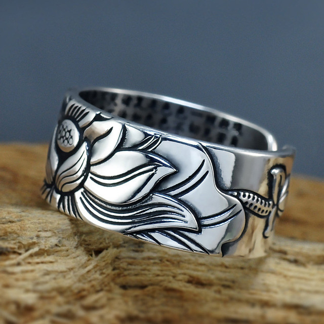 V.YA 100% Real 999 Pure Silver Jewelry Lotus Flower Open Ring 4