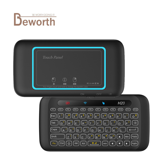 H20 Wireless Keyboard Backlight Full Screen Touchpad Handheld Remote Control Mini 2.4G Fly Air Mouse For Laptop X96 Mini Android