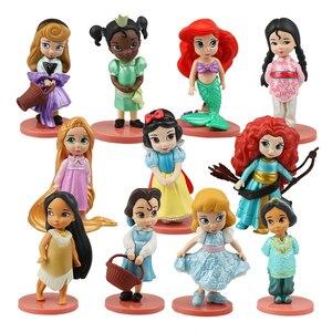 Image 1 - 디즈니 프린세스 11 pcs 액션 피규어 8 cm 모아 나 백설 공주 메리다 뮬란 인어 티아나 재스민 인형 어린이 장난감 어린이 컬렉션