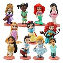Disney Princess 11Pcs Action Figures 8cm Moana Snow White Merida Mulan Mermaid Tiana Jasmine Dolls Kids Toys Children Collection