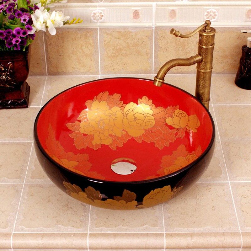 Évier de salle de bain en porcelaine de céramique orientale Unique avec comptoir