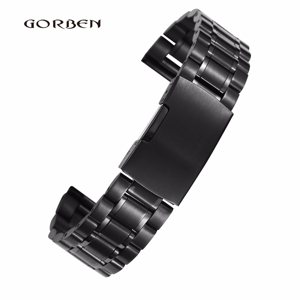 Watchband For Men 16mm 18mm 20mm 22mm 24mm Stainless Steel Strap Black Silver Golden With Folding Clasp Metal Women Watch Band 18mm silver stainless steel watch band strap replacement bracelet folding clasp with safety for men women