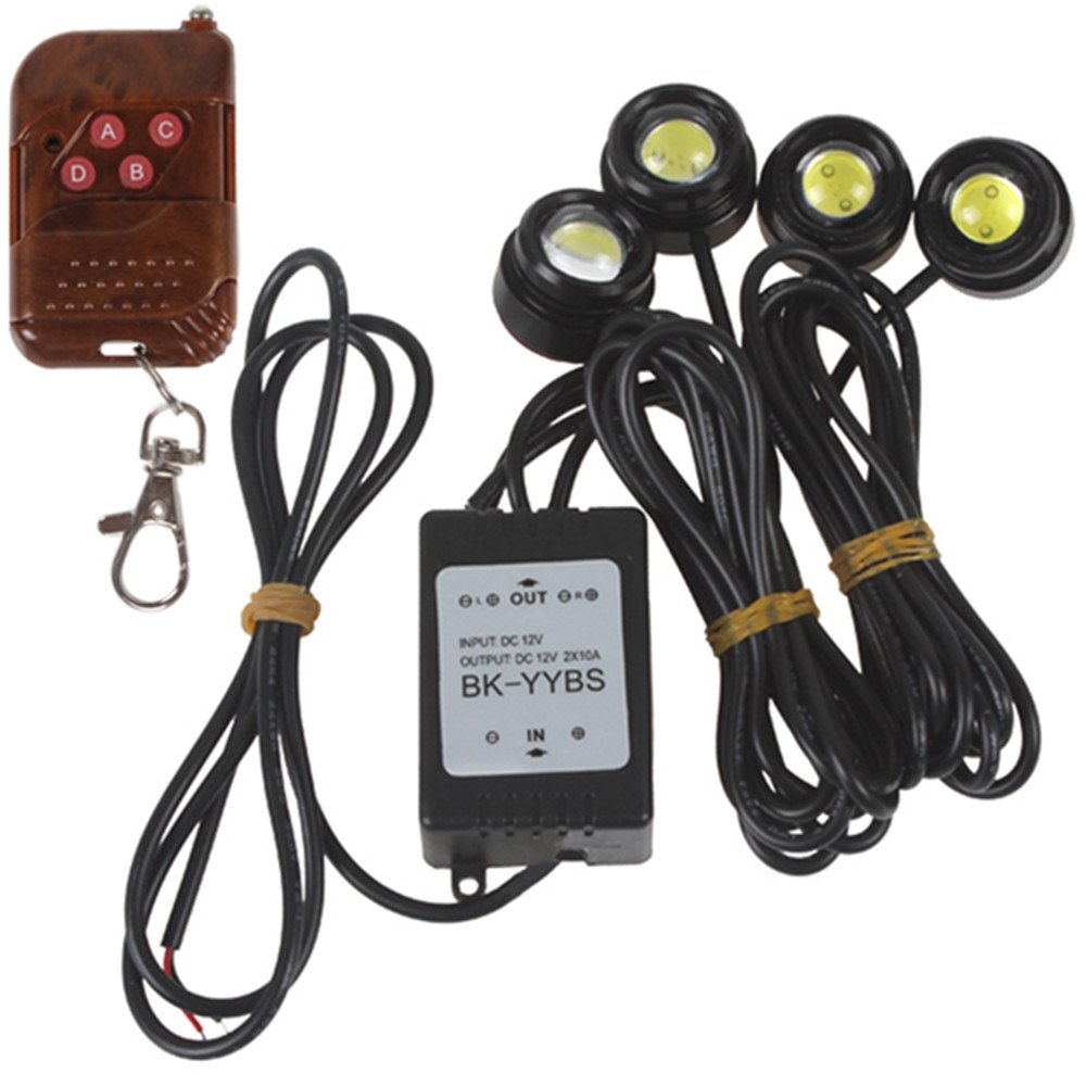 Universal Car Auto One to Four 4 x 1.5W 6000K Strobe Flash Eagle Eye LEDs Car Light with Wireless Remote