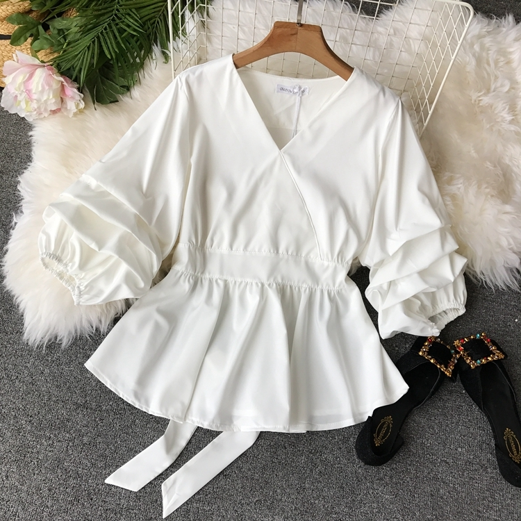 2109 Spring Women V-neck Puff Sleeves Blouse Slim Tunic Tops Retro Vintage Pullovers Busos Para Mujer Kimonos 89