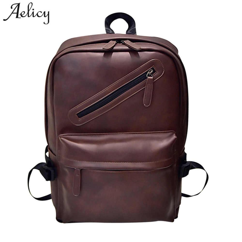d12c00c97121 Aelicy высокое качество из искусственной кожи рюкзак мужской Для мужчин  рюкзак для 15,6 дюйм