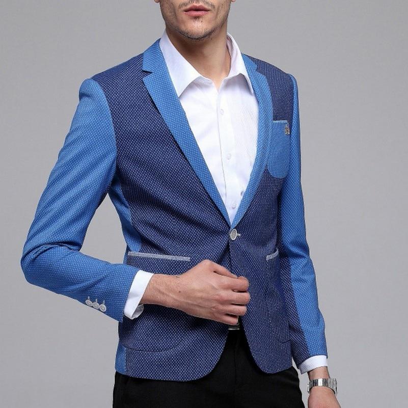 Patchwork Masculina Hommes Fit Masculino Polka allumette Plus La Cran Slim Blazer Jaqueta Revers Dot Loisirs Bleu Tout Pour Taille SwTSgrqx
