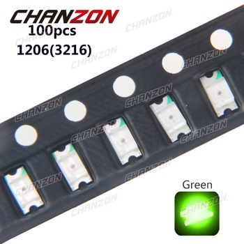 100pcs SMD 1206 (3216) LED Chip Diode Green 20mA DC 3V Light Emitting Diode Lamp SMT Surface Mount Electronis Components for PCB