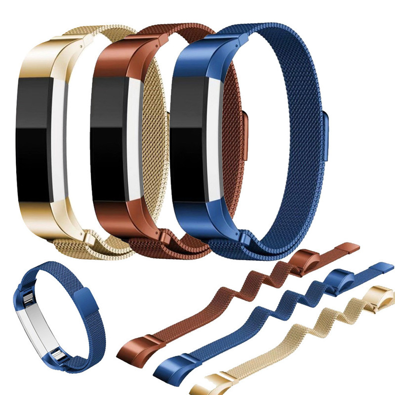 Milanese Magnetic Loop Stainless Steel Smart Watch Band Stainless Steel Magnetic interlock clasp + Connector For Fitbit Alta