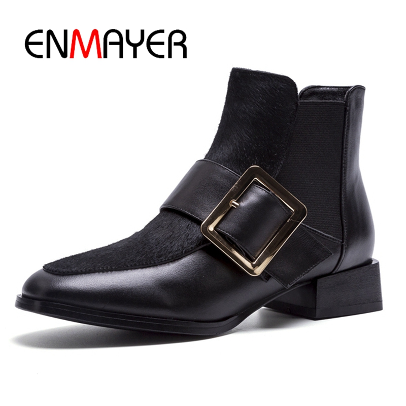 ENMAYER Women boots women pointed toe Slip-on ankle boots women buckle boots square heel boots Big 34-40 ZYL1074ENMAYER Women boots women pointed toe Slip-on ankle boots women buckle boots square heel boots Big 34-40 ZYL1074
