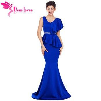 DearLover New Arrival Elegant Gowns Long Dress Women Asymmetric Ruffle Peplum Mermaid Party Dress Vestido Longo de Festa LC61811