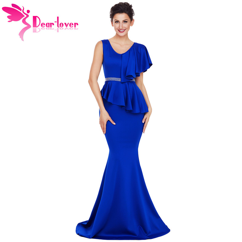 DearLover New Arrival Elegant Gowns Long Dress Women Asymmetric Ruffle Peplum Mermaid Party Dress Vestido Longo