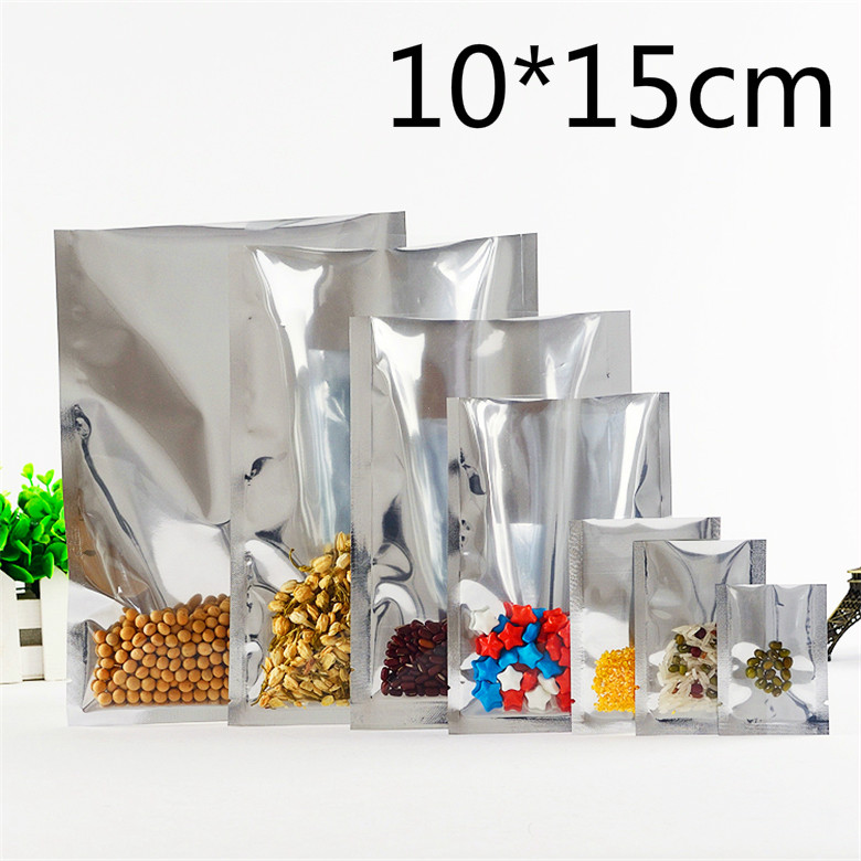 10*15cm 100Pcs/Lot Open Top Silver Aluminium Foil Clear Packing Bag Vacuum Pouches Heat Seal Bags Food Storage Package Pack Bags