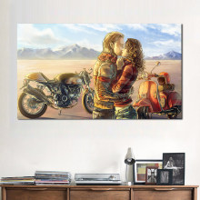 JQHYART Couple Kissing Wall Art Prints motorcycle Canvas Painting Decoration For Living Room Printed Poster No Frame(China)