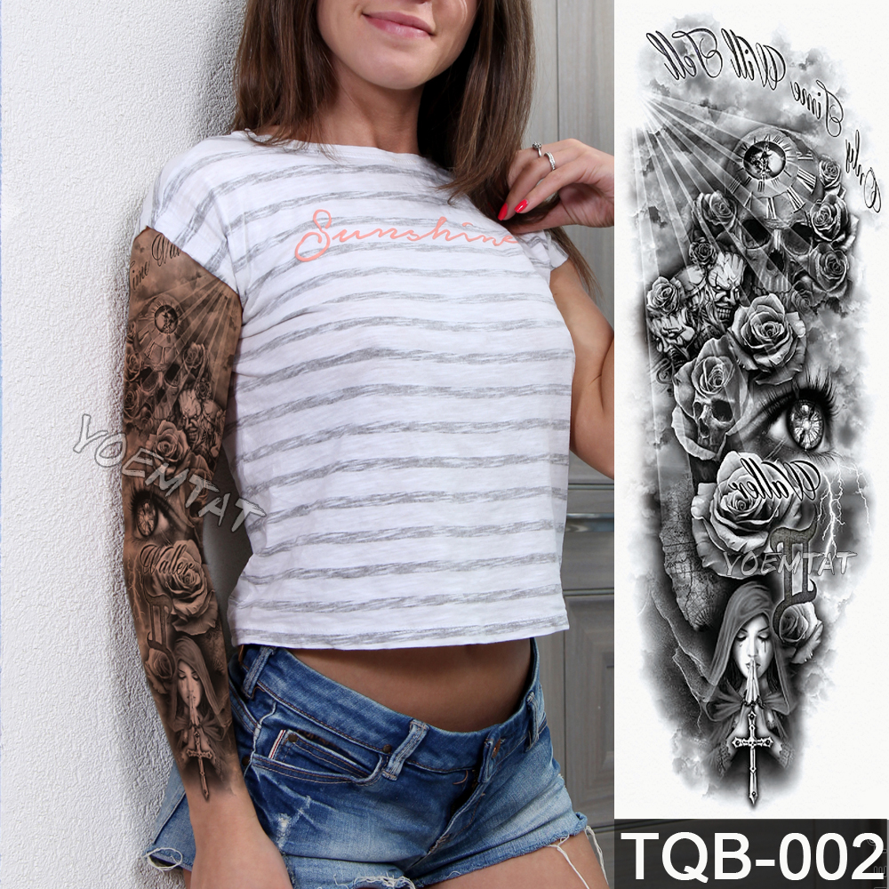 NEW 48*17cm Full Flower Arm Tattoo Sticker Praying Roses Text Skull Temporary Body Paint Water Transfer Fake Tatoo Sleeve