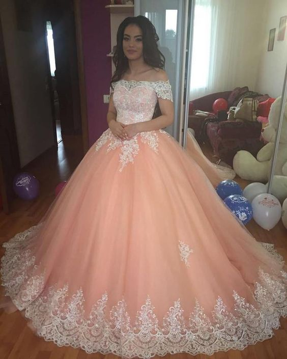 vestidos de baile Stunning Beautiful Appliqued Tulle   Prom     Dress   Ball Gown Boat Neck Elegant Women Evening   Dresses