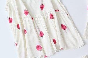 Image 3 - Daeyard uyku salonu 3 parça pamuk pijama setleri kadınlar beyaz çilek baskı pijama pijama sevimli pijama bahar ev takım elbise
