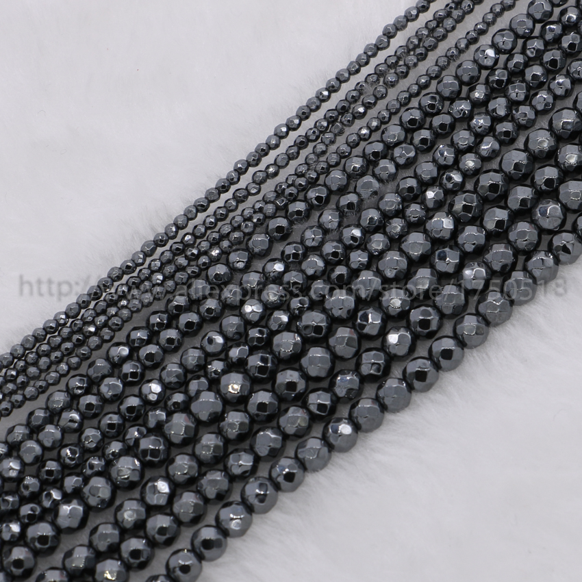 "Panas! 32 ""16"" 18 ""Natural Hematit kalung Hematit rantai 2mm / 3mm / 4mm beads faceted hitam gun natural hematit beads cz210"