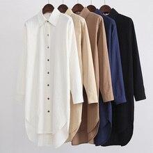 Весенняя новая Однотонная рубашка с длинными рукавами большого размера свободная белая длинная рубашка юбка женская куртка dd60