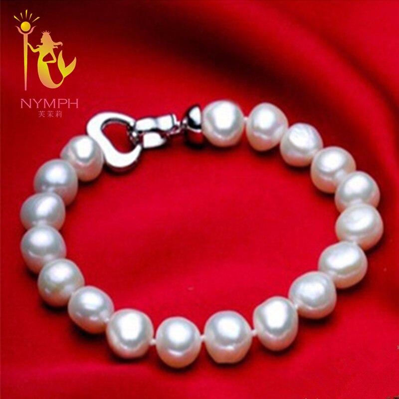 [NYMPH] joyas de perlas pulseras barrocas de perlas fine jewlery blanco perla de agua dulce regalo para las mujeres S007