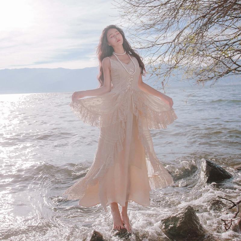 2019 nouvelle mode femmes robes dentelle jarretelle robe rétro doux fée taille été