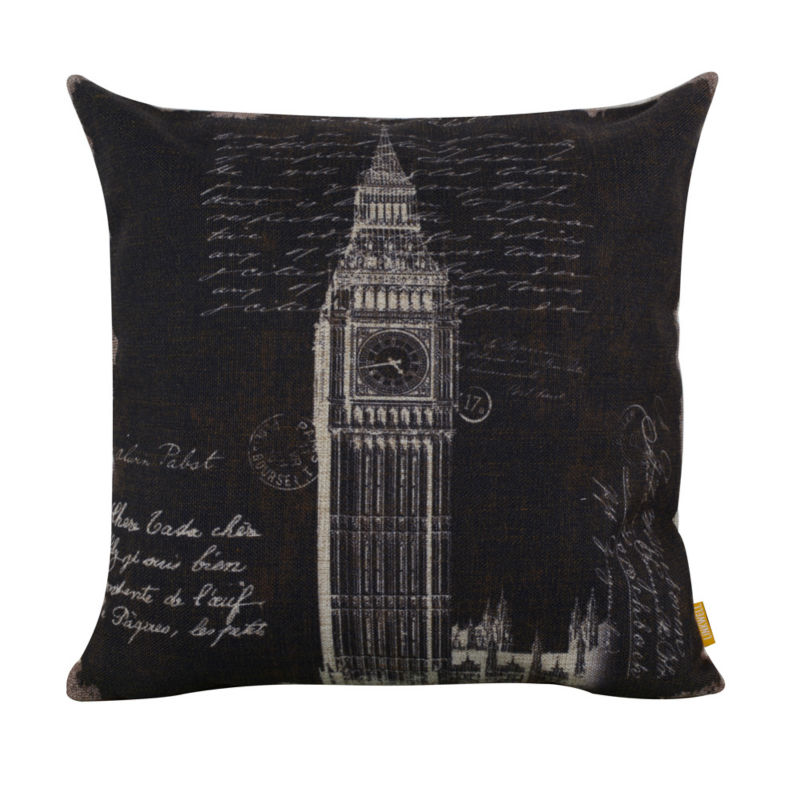 LINKWELL 45x45cm Retro <font><b>Black</b></font> <font><b>London</b></font> Big Ben Burlap Cushion Cover decorative throw pillow case for sofa home UK Words Letter