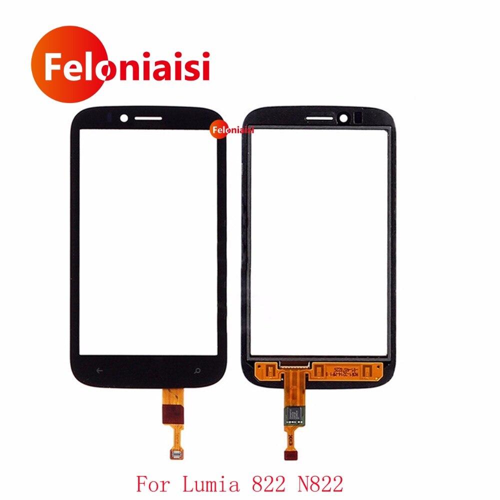 Haute Qualité 4.3 Pour Nokia Lumia 822 N822 Écran Tactile Digitizer Capteur Externe Lentille En Verre Panneau Noir + de Suivi Code