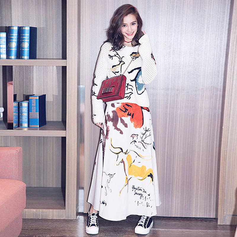 New Fashion High Quality Runway 2018 Spring Women'S Party Office Vintage Elegant Hollow Out Long Sleeve Sweater Half Skirt Set