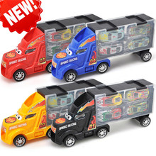 Childrens Toy Tow Container Truck Return Metal Car Model Combination Set Boys Gift Package Free Shipping