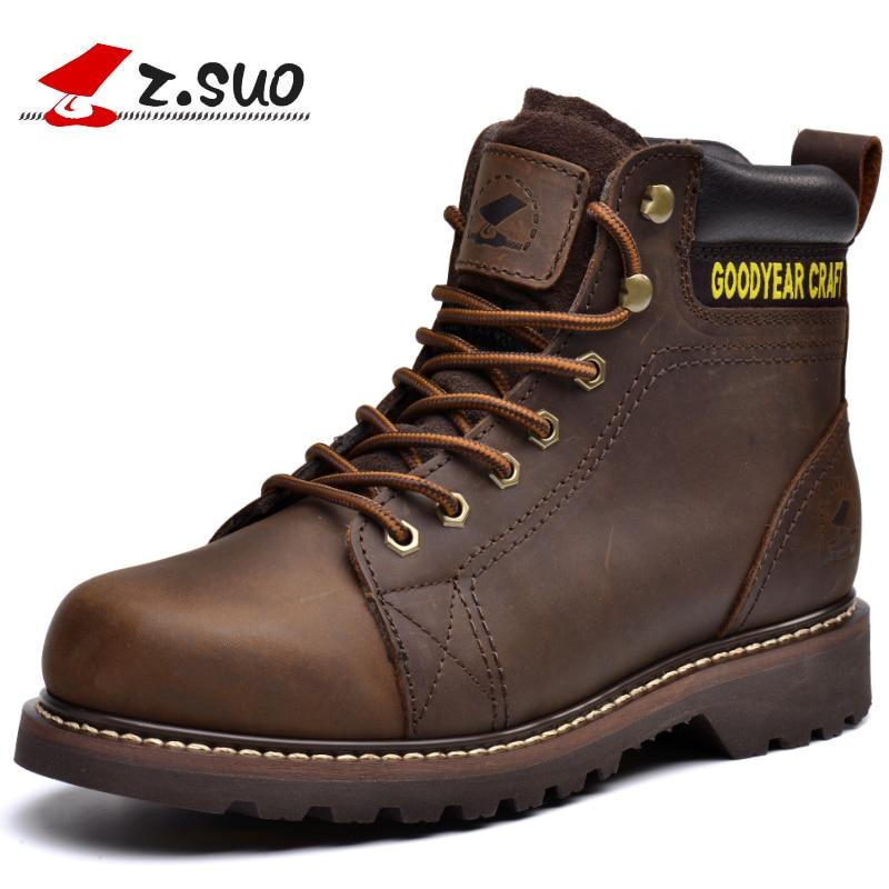 ZSuo hiver hommes bottes en cuir hommes bottes de travail de haute qualité à la main outillage rétro mode bottes décontractées homme Botas Hombre